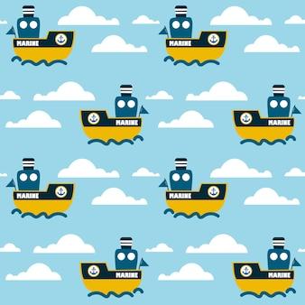 해양 원활한 패턴 만화 해상 범선 직물
