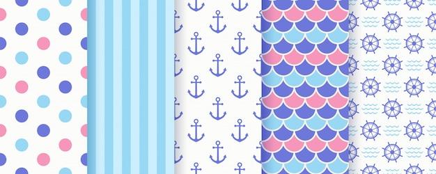 海洋のシームレスパターン。幾何学的な夏セット