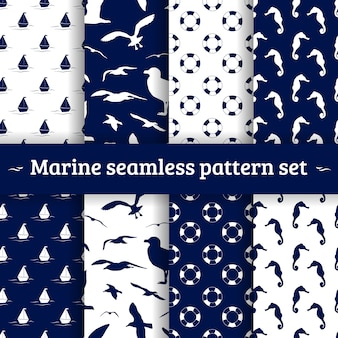Marine seamless pattern set vector