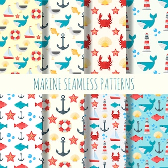 Marine seamless pattern  set.