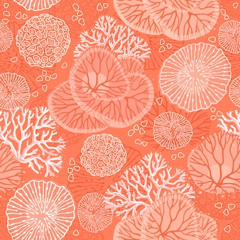 Marine seamless pattern with beautiful corals.