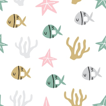Marine seamless pattern with cute fish, starfish and corals