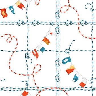 ロープの結び目と旗との海洋シームレスパターン。壁紙、装飾、ラッピングのためのループネイビー飾り付きの航海ファブリックの背景。ベクトルイラスト