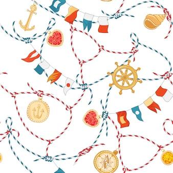 ロープノットとジェムストーンを使用したマリンシームレスパターン。ループ海軍の装飾と壁紙、装飾、ラッピングのためのダイヤモンドと航海ファブリックの背景。ベクトルイラスト