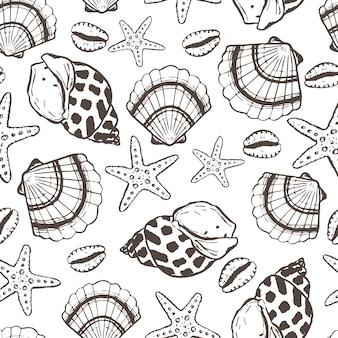 Marine seamless pattern with seashell and starfish summer time sea underwater handdrawn