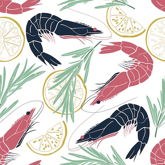 Marine seamless pattern with shrimps