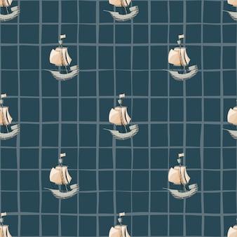 Морской бесшовный образец с элементами простого бежевого парусника. темно-синий фон с проверкой. предназначен для тканевого дизайна, текстильной печати, упаковки, обложки. векторная иллюстрация.