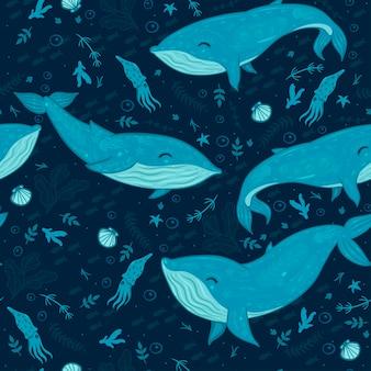 Морской бесшовный образец с китами.