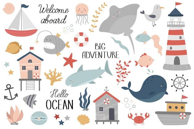 Marine set ocean life underwater world