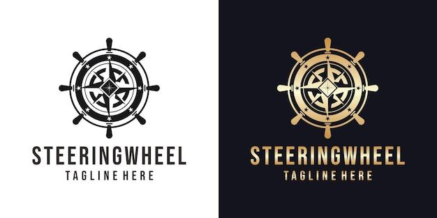 해양 스티어링 휠 로고 디자인 템플릿