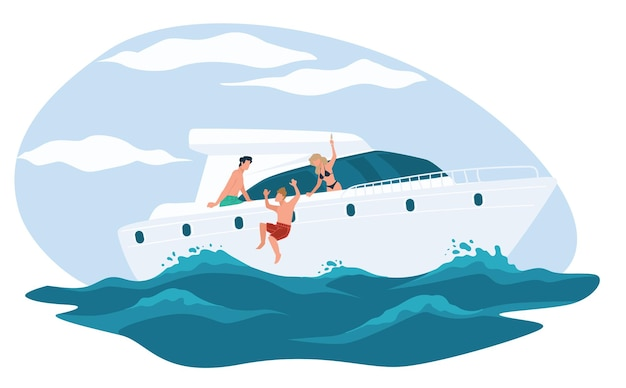 ヨットでクルージングする夏休みを楽しむ友人、裕福な人々または裕福な人々の海の旅。水に飛び込んだり、ボートや豪華な船で日光浴をしたりする人物。フラットスタイルの水泳ベクトル
