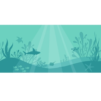 Морская подводная жизнь подводный фон с рыбными растениями, акула, черепаха, морская звезда, кораллы