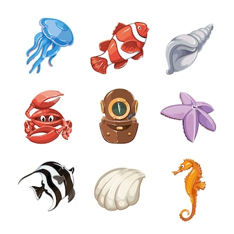 Marine vector icon set in cartoon style. nature life, wildlife underwater, sea or ocean fish illustration