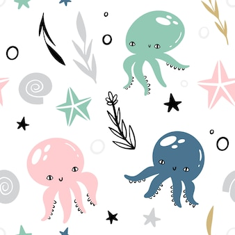 Marine vector seamless pattern with animals and plants