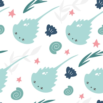 Marine vector seamless pattern with cute stingrays, seashells, algae and starfish