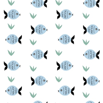 Marine vector seamless pattern with fish