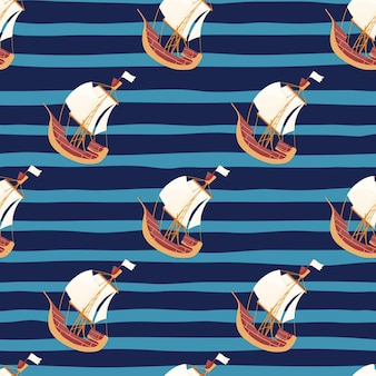 Marine water seamless pattern with doodle sailboat ornament. navy blue striped background. designed for fabric design, textile print, wrapping, cover. vector illustration.