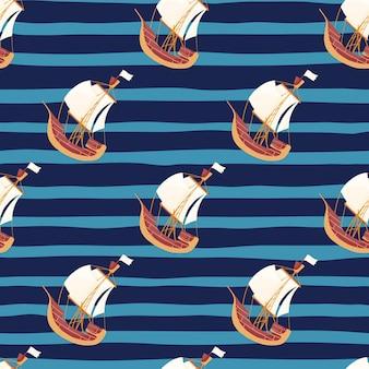낙서 범선 장식으로 해양 물 완벽 한 패턴입니다. 네이비 블루 스트라이프 배경입니다. 패브릭 디자인, 섬유 인쇄, 포장, 커버용으로 설계되었습니다. 벡터 일러스트 레이 션.