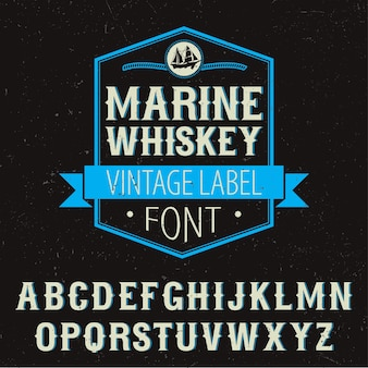 Marine whiskey label font poster with decoration and alphabet on black illustration