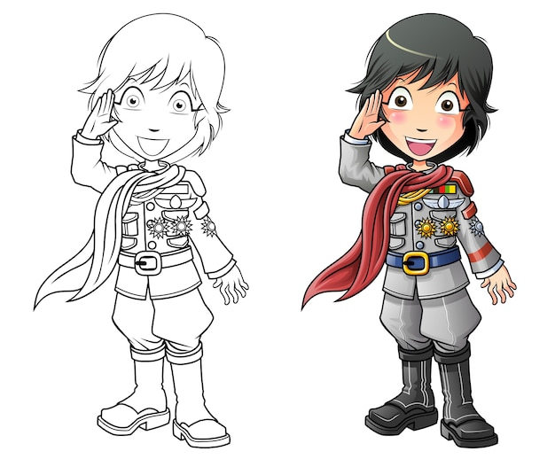 아이들을위한 마리너 만화 색칠 공부 페이지 프리미엄 벡터