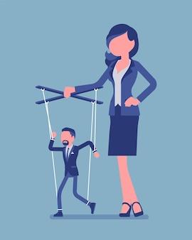 Марионеткой-бизнесменом манипулирует и контролирует кукольница. мужчина-менеджер под влиянием босса, сильная женщина, обладающая властью, управляет слабым мужчиной. векторная иллюстрация, безликие персонажи