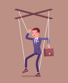 Marionette businessman, manipulated or controlled puppet worked by strings