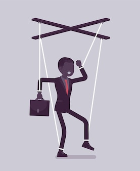 꼭두각시 사업가, 끈으로 작동되는 조작되거나 통제되는 꼭두각시. 상사의 영향을 받는 남성 관리자, 비즈니스 주문을 수행하는 권한, 결정을 내립니다. 벡터 일러스트 레이 션, 얼굴 없는 캐릭터