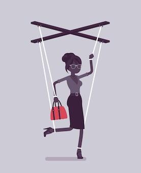 꼭두각시 사업가, 끈으로 작동되는 조종된 꼭두각시. 상사의 영향을 받는 여성 관리자, 업무 지시를 수행할 수 있는 권한, 결정을 내립니다. 벡터 일러스트 레이 션, 얼굴 없는 캐릭터