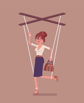 Marionette businesswoman, manipulated controlled puppet worked by strings