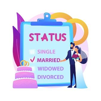Иллюстрация абстрактного понятия семейного положения. гражданское положение, родство лиц, женат, не замужем, флажок, семейное положение, обручальные кольца, супружеская пара, разведенный вдовец.