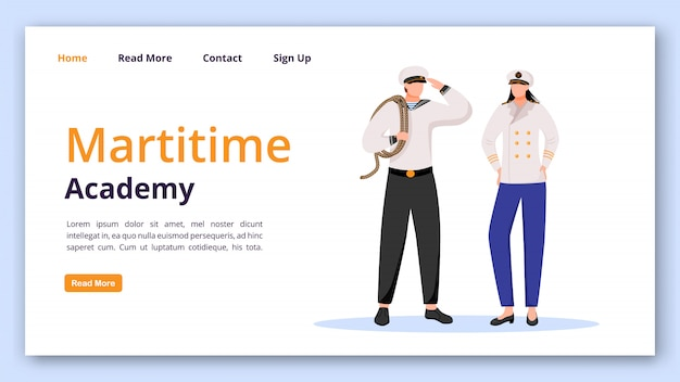 Maritime academy landing page  template.