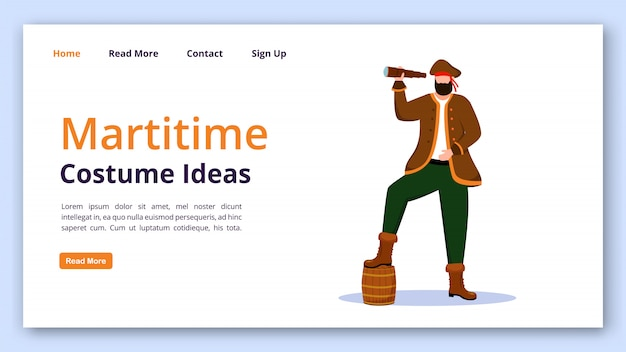 Maritime costume ideas landing page vector template. pirate website interface idea with flat illustrations. clothing rental homepage layout. marine festival landing page