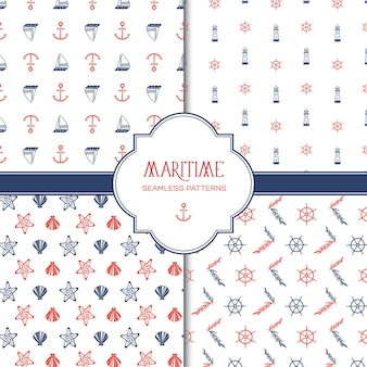 Maritime hand drawn seamless pattern with colorful marine and nautical elements