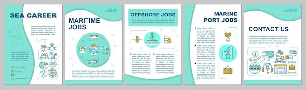 Шаблон брошюры морских вакансий. вакансия морского инженера. флаер, буклет, печать листовок, дизайн обложки с линейными иконками. векторные макеты для журналов, годовых отчетов, рекламных плакатов