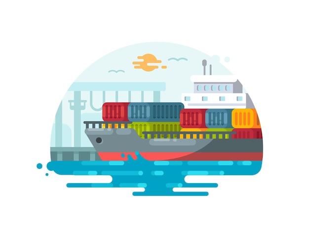 海上ロジスティクスと輸送。港にコンテナを積んだ船。ベクトルイラスト