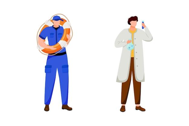 해양 직업 플랫. 구명 부표와 선원. 해상 연구. 흰 코트의 과학자. 해안 경비대와 해양 연구원 흰색 배경에 고립 된 만화 캐릭터