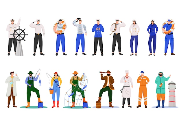 Maritime professions flat . sailors in uniform. marine occupation. nautical career.