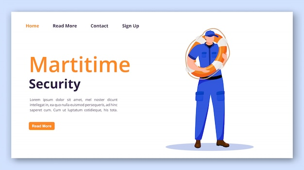 Maritime security landing page vector template. coast guard website with flat illustrations. website design
