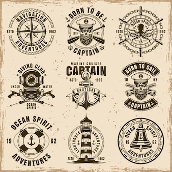 Maritime set of nine vector emblems, labels, badges or t shirt prints in vintage style on dirty background with stains and grunge textures