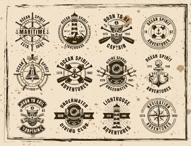 Maritime set of twelve vector emblems, labels, badges and prints in vintage style on dirty background with stains and grunge textures
