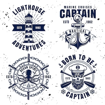 Maritime set vector emblems, labels, badges or logos in vintage style on background with removable textures