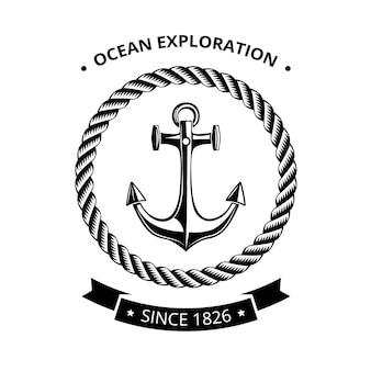 海事シンボルのロゴ-黒いリボンとテキストの場所でロープの丸いフレームにアンカー
