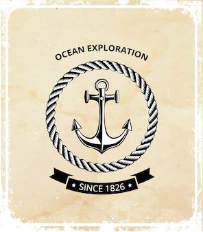 Логотип морских символов - якорь с веревкой и с черной лентой для текста.