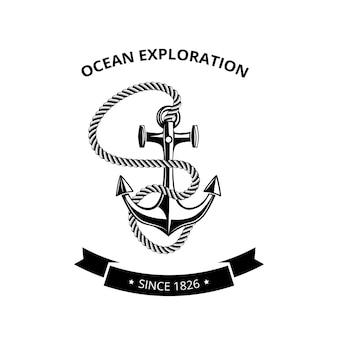 海事シンボルのロゴ-ロープとテキスト用の黒いリボンでアンカー