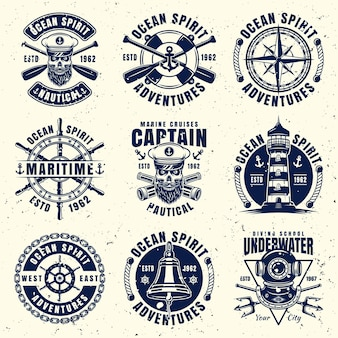 Maritime thematic set of nine vector emblems, labels, badges or logos. vector illustration on separate layer with removable grunge textures