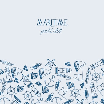 魚、船、海洋、シームレスなパターンを含むさまざまな青と白のシンボルが1枚の紙に描かれた海上ヨットクラブのポスター