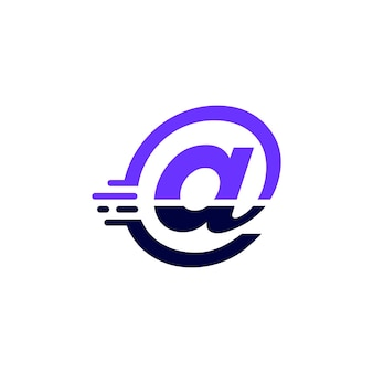 At mark dash tech digital fast quick delivery movement purple logo vector icon illustration
