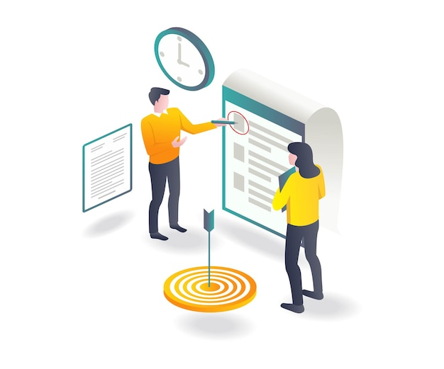 Mark work plans and targets in isometric illustration