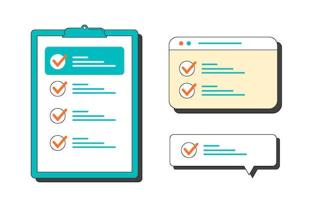 Marked checklist on a clipboard and in the browser, in the dialog box. vector flat illustration