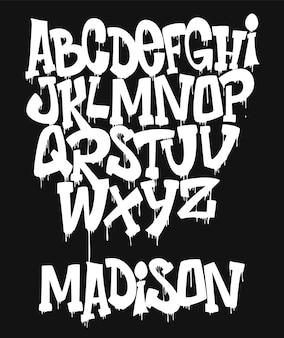 Маркер граффити шрифт, рукописная типография иллюстрация